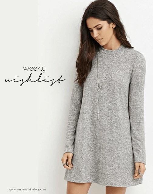 Weekly wishlist, trapeze dress, sweater dress, sweater dress under 50
