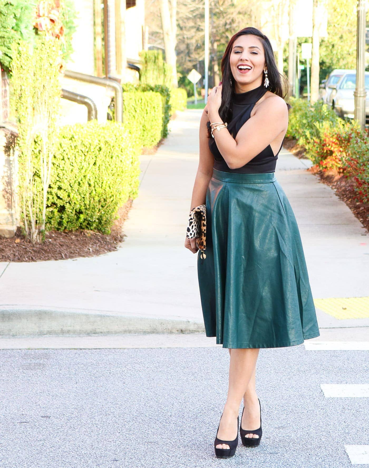GREEN LEATHER MIDI | Simply Sabrina