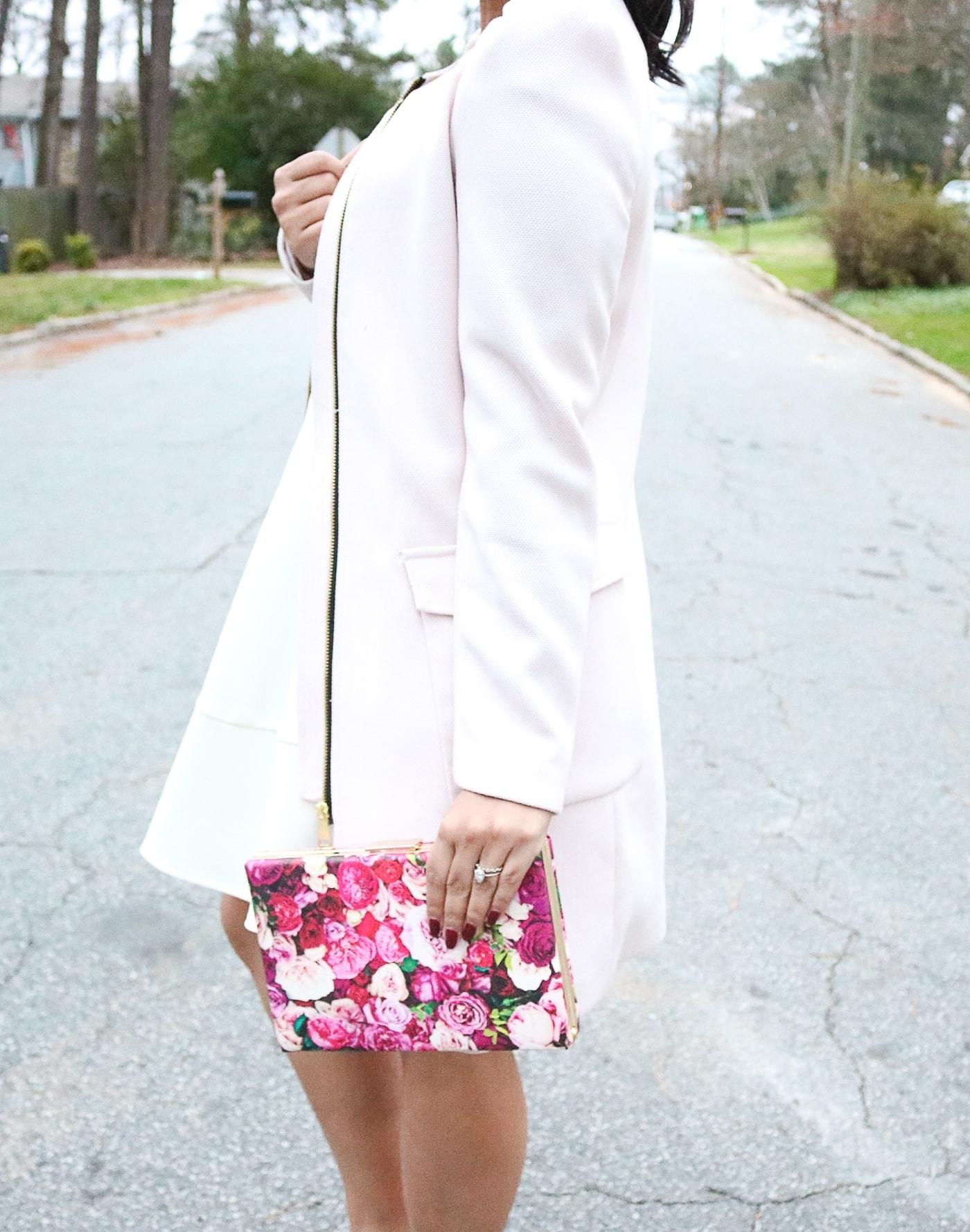 white dress, coat, winter coat, dress coat, pink coat, best winter coat, maroon heels, peep toe heels, lolita