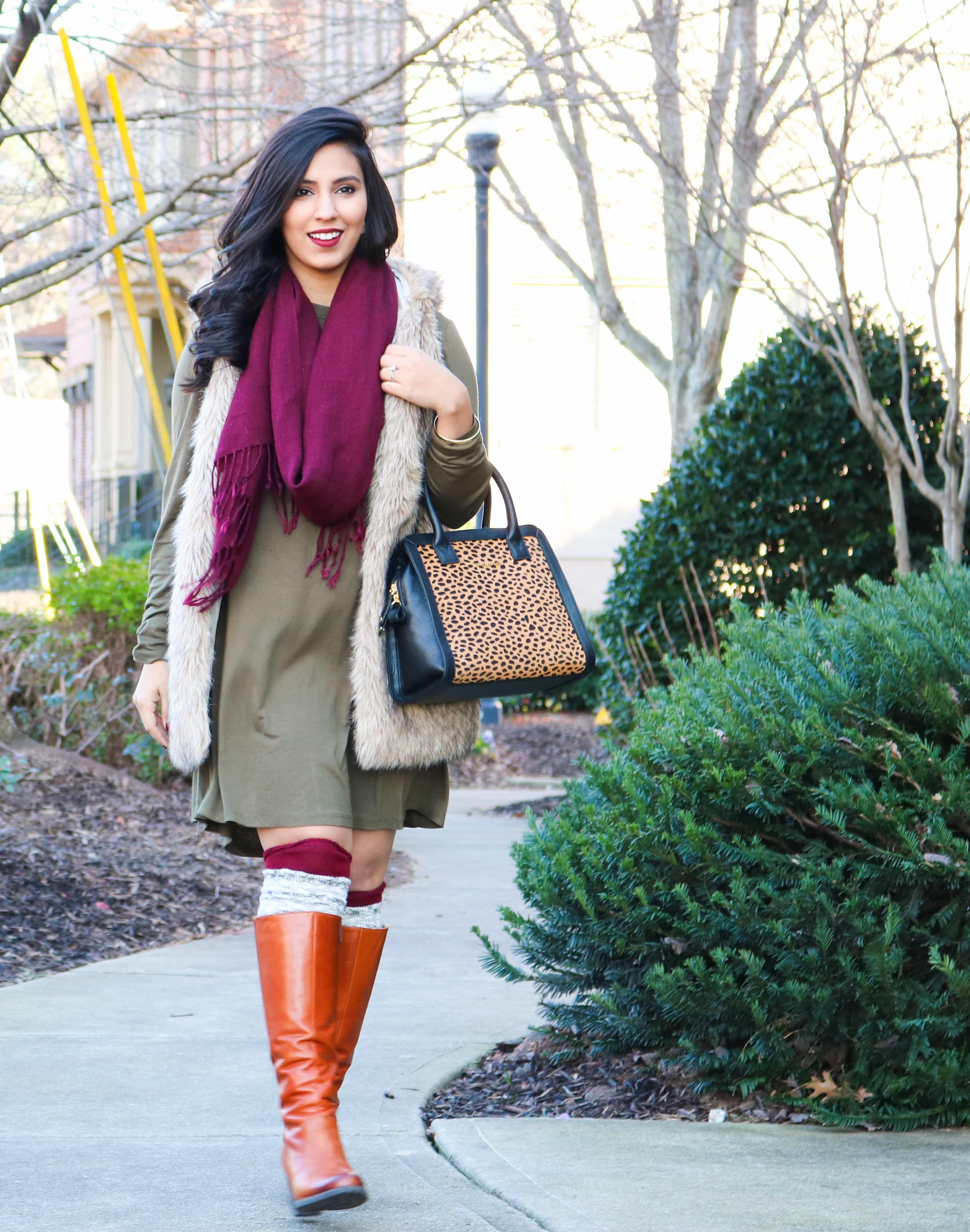 wine scarf, olive dress, faux fur vest, vera bradley, vera bradley cheetah purse, alex and ani, grey socks, camel boots, kvd vampira, cheetah bag