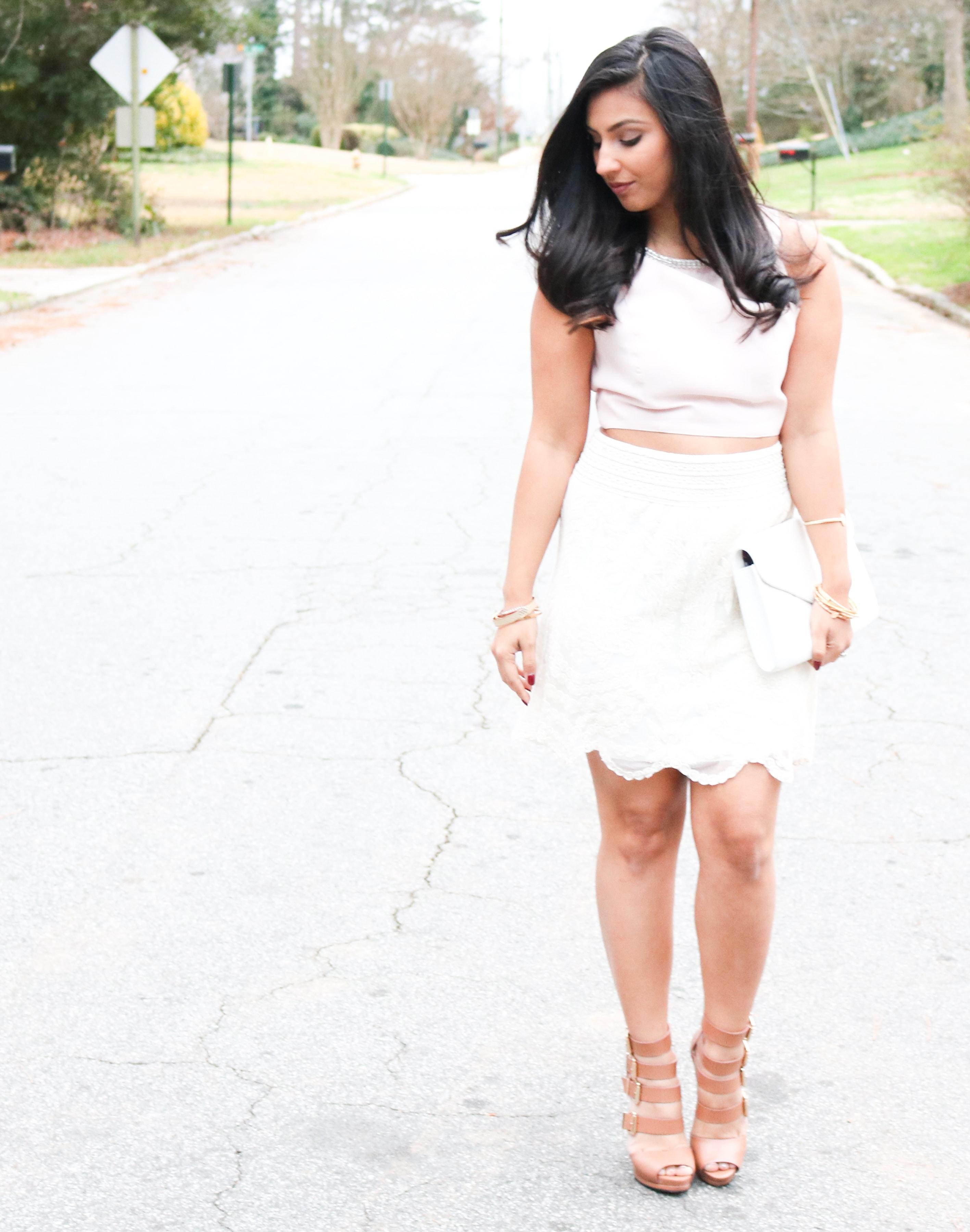 pink crop top, crop top, jewel crop top, white lace skirt, white lace, lace skirt, chinese laundry heels, lark heels,vera bradley harper clutch, vera bradley, lolita
