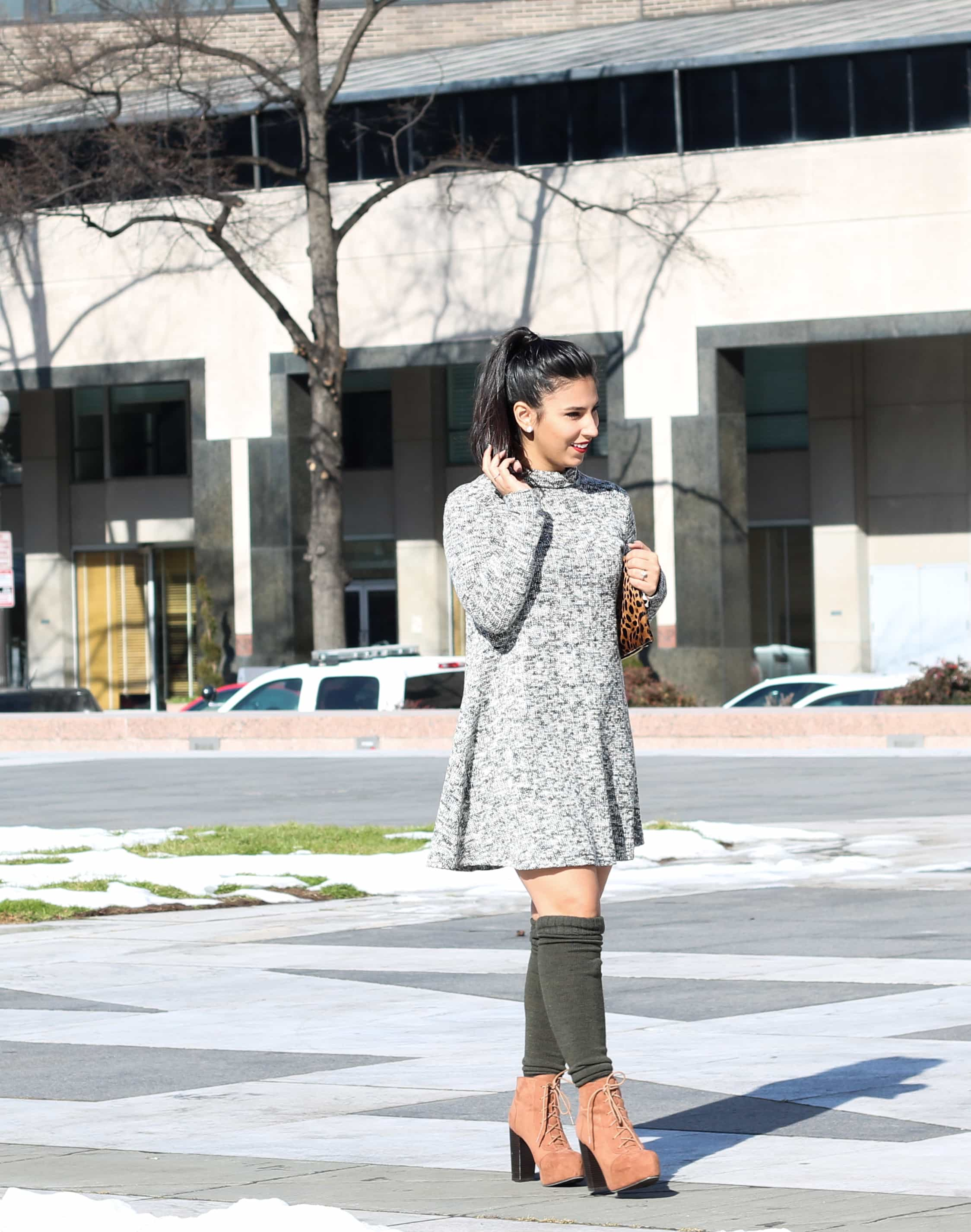 leopard clutch, clare v clutch, marled grey sweater dress, what to wear in dc, winter travel, winter fashion, otk socks, high socks, winter boots, beso stila lipstain