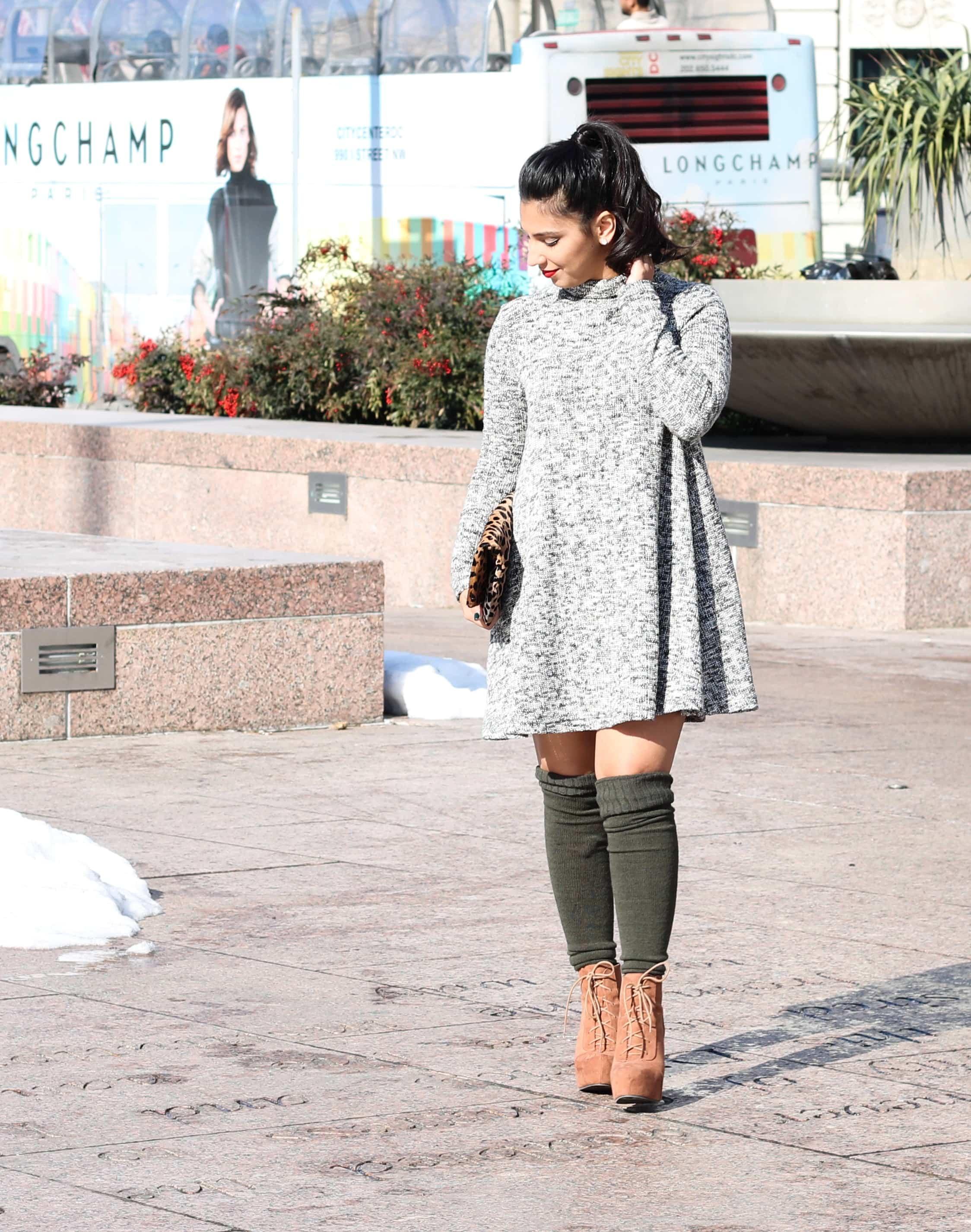 leopard clutch, clare v clutch, marled grey sweater dress, what to wear in dc, winter travel, winter fashion, otk socks, high socks, winter boots, beso stila lipstain