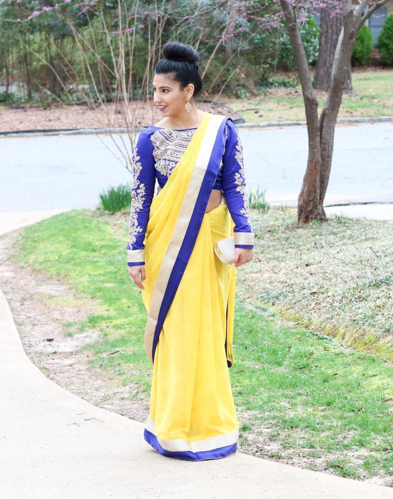 saree, yellow saree, south asian style, yellow and blue saree, long sleeve saree blouse, south asian style, yellow saree style, kundan jewelry