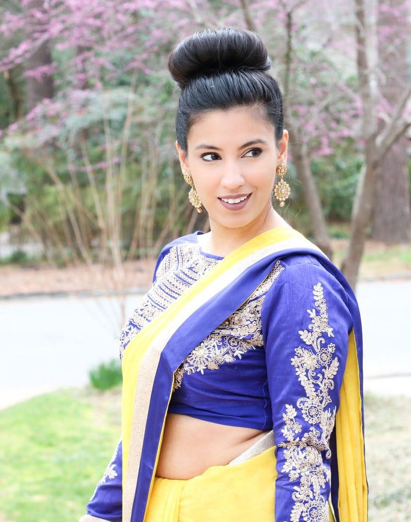 saree, yellow saree, south asian style, yellow and blue saree, long sleeve saree blouse, south asian style, yellow saree style