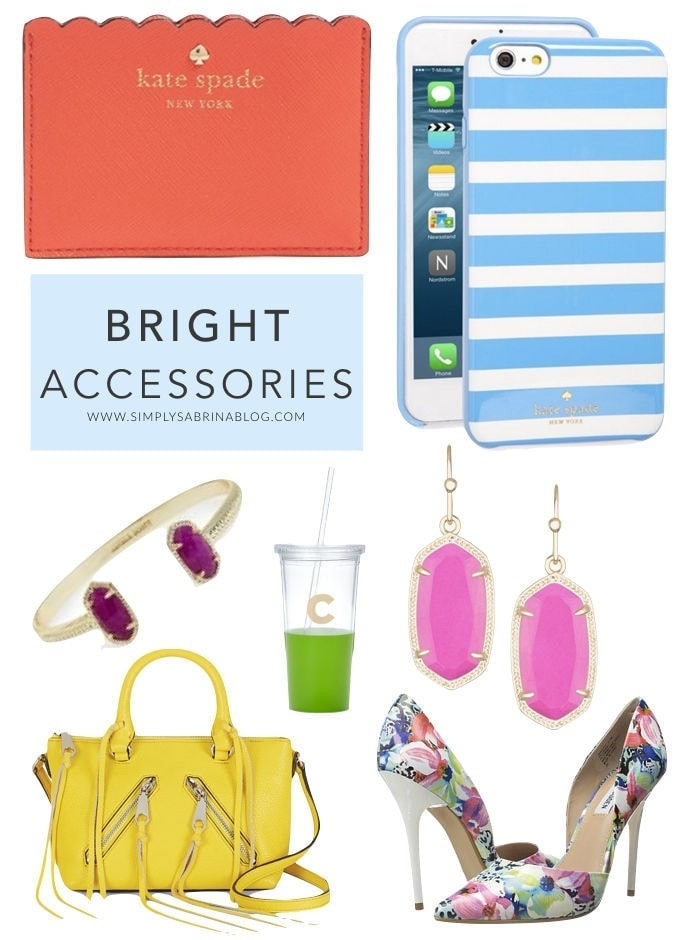 Bright accessories, accessories, kate spade, kendra scott, floral shoes