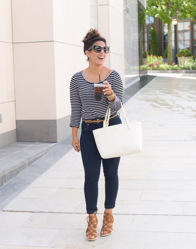 striped tshirt, tshirt, jcrew tshirt, tory burch, tory burch handbag, lace up wedges, limited jeans, indigo road Haylei, 'Small York' Saffiano Leather Buckle Tote