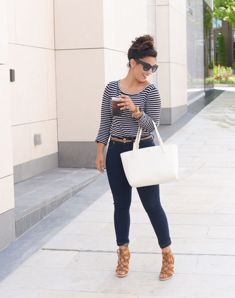 striped tshirt, tshirt, jcrew tshirt, tory burch, tory burch handbag, lace up wedges, limited jeans, indigo road Haylei, 'Small York' Saffiano Leather Buckle Tote, corsco coffee, oversized sunglasses