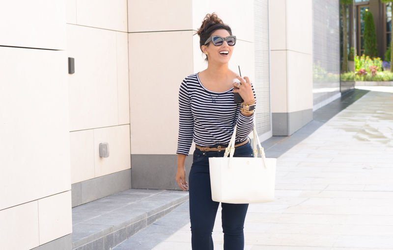 striped tshirt, tshirt, jcrew tshirt, tory burch, tory burch handbag, lace up wedges, limited jeans, indigo road Haylei, 'Small York' Saffiano Leather Buckle Tote, corsco coffee, oversized sunglasses, apple watch, alex and ani, kendra scott cuff
