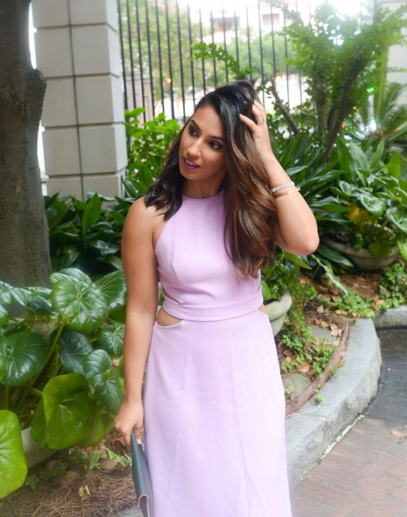 lavender cutout midi dress