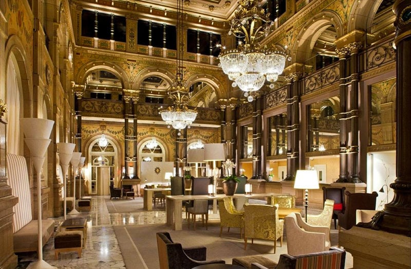 elegant lobby of fancy hotel